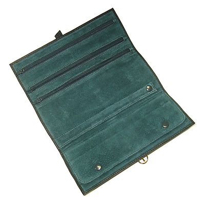 Royce Leather Jewelry Roll Green