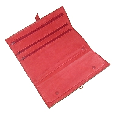 Royce Leather Suede Lined Jewellery Roll, Red, Gold Foil Stamping, 3 Initials
