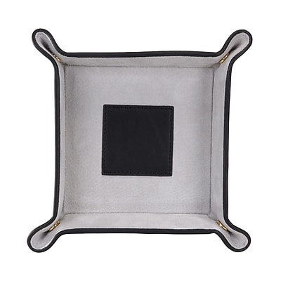 Royce Leather Catchall Black With Grey Suede