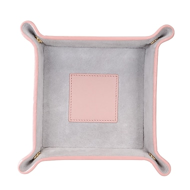 Royce Leather Suede Valet Tray, Carnation Pink with Grey, Silver Foil Stamping, Full Name