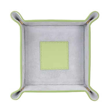 Royce Leather Suede Valet Tray, Key Lime Green with Grey, Silver Foil Stamping, 3 Initials
