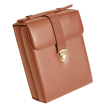 Royce Leather Suede Lined Pocketbook Jewellery Case, Tan, Gold Foil Stamping, 3 Initials