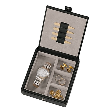 Royce Leather Suede Lined Leather Watch and Cufflink Box, Black, Silver Foil Stamping, 3 Initials