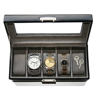 Royce Leather Slot Watch Box, Brown