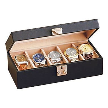 Royce Leather Deluxe Watch Box, 5-Slots, Black, Gold Foil Stamping, Full Name
