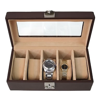 Royce Leather – Coffret de luxe pour montres, 5 compartiments, chocolat, estampage, 3 initiales