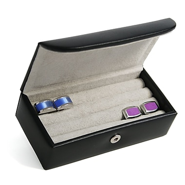 Royce Leather Men's Suede Lined Cufflink Box, Black, Silver Foil Stamping, 3 Initials