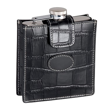 Royce Leather Crocodile Embossed 5 Ounce Stainless Steel Flask, Black, Silver Foil Stamping, Full Name