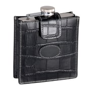 Royce Leather Crocodile Embossed Stainless Steel Flask 5 Ounce Black