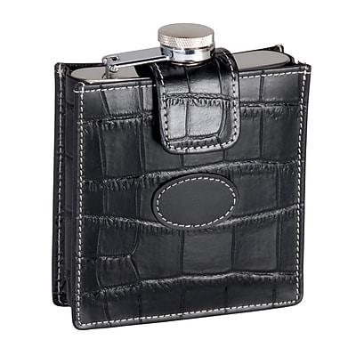 Royce Leather Crocodile Embossed Stainless Steel Flask 5 Ounce, Black