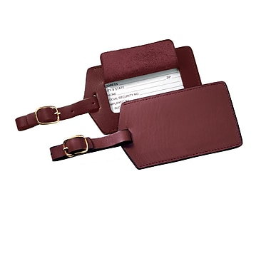 Royce Leather Full Grain Cowhide Luggage Tag, Burgundy, Silver Foil Stamping, 3 Initials