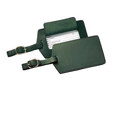 Royce Leather Full Grain Cowhide Luggage Tag, Green, Gold Foil Stamping, Full Name