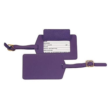 Royce Leather Luggage Tag, Purple, Silver Foil Stamping, 3 Initials
