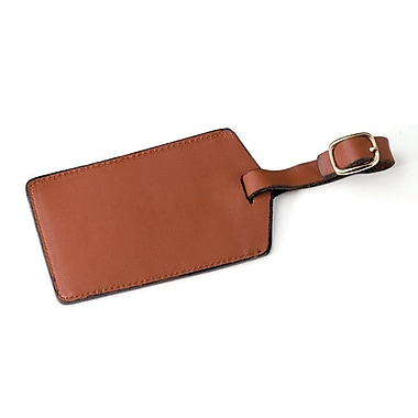 Royce Leather Luggage Tag, Tan (955-TAN-3), Gold Foil Stamping, 3 Initials