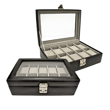 Royce Leather Debonair Watch box, 10-Slot, Black, Silver Foil Stamping, Full Name