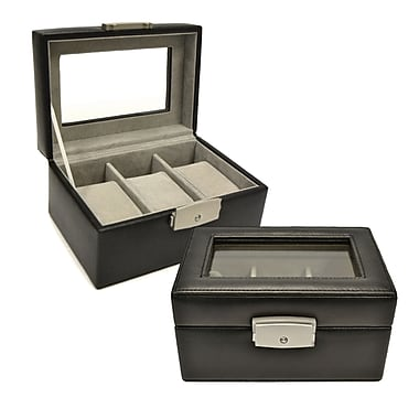 Royce Leather Luxury Watch box, 3 Slot, Black, Silver Foil Stamping, Full Name