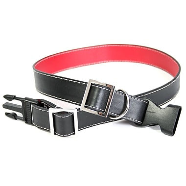 Royce Leather Large-Extra Large Two-Toned Dog Collar, Red, Silver Foil Stamping, 3 Initials
