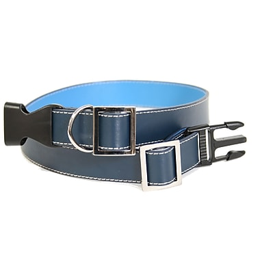 Royce Leather Large-Extra Large Two-Toned Dog Collar, Royce Blue, Gold Foil Stamping, 3 Initials