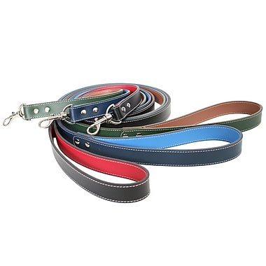 Royce Leather 6 Foot Two-Toned Dog Leash, Red, Silver Foil Stamping, 3 Initials