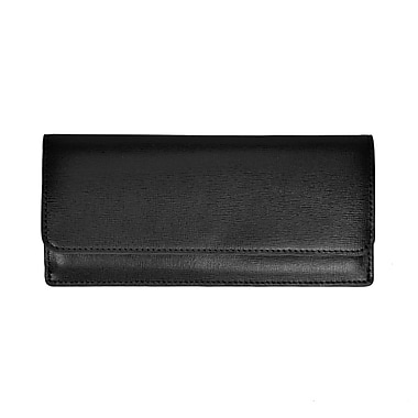 Royce Leather RFID Blocking Saffiano Clutch, Black, Silver Foil Stamping, 3 Initials