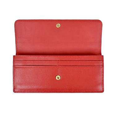 Royce Leather RFID Blocking Clutch, Red, Silver Foil Stamping, 3 Initials