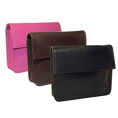 Royce Leather RFID Blocking Exec Wallet, Wild berry, Debossing, 3 Initials