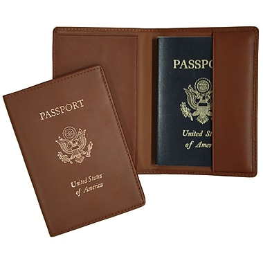 Royce Leather RFID Blocking Foil Stamped Passport Jacket, Tan, Gold Foil Stamping, Full Name