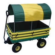 "Millside Industries Hardwood 20"" x 38"" Kids Wagon, Yellow/Green"