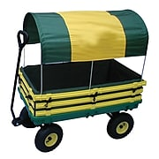 "Millside Industries Hardwood 20"" x 38"" Kids Wagon, Yellow/Green"