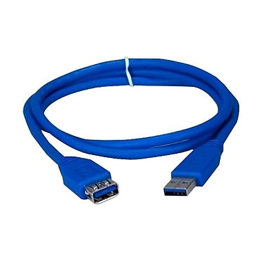 QVS 6' USB 3.0 Male to Female Extension Cable, Blue