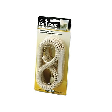 Softalk® Tangle Free TLPHN Twisstop Cord, Ivory
