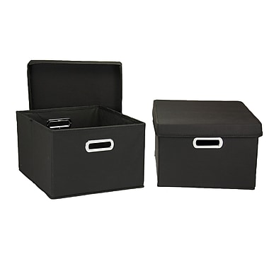 Household Essentials® Hard-Side Nested Box With Lid, Black