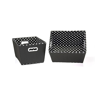 Household Essentials® Two-Toned Small Tapered Bin, Black/White, 2/Pack