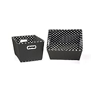 Household Essentials® Two-Toned Small Tapered Bin, Black/White, 2/Pack (17KDBLK-1)