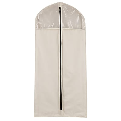 Household Essentials® Zippered Hanging Dress Suit Protector, Natural Canvas