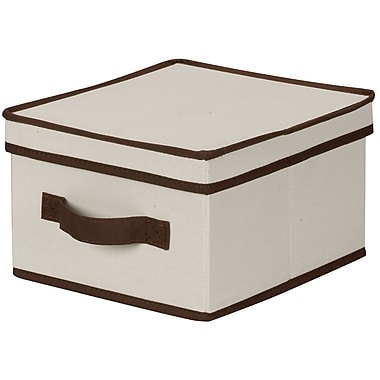 Household Essentials® Medium Storage Box With Coffee Trim, Natural