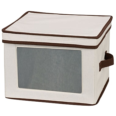 Household Essentials® Natural Dinner Plate Storage Chest, Cream With Brown Trim