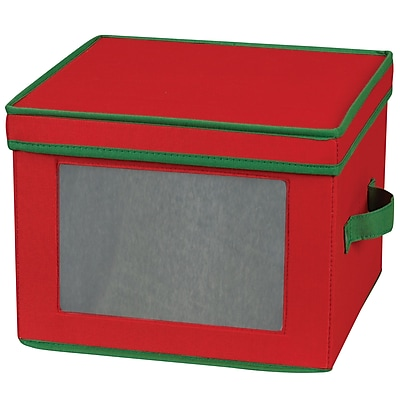 Household Essentials Holiday China Storage Chest, Red/Green 37471