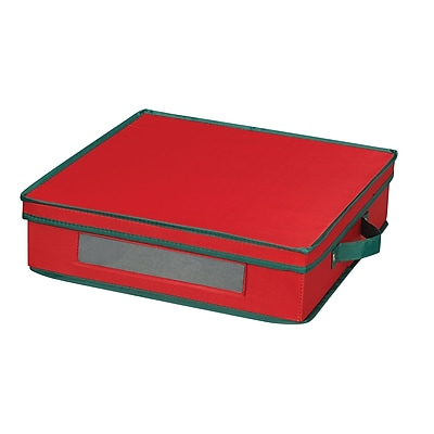 Household Essentials Holiday Charger Plate Storage Chest, Red 37470