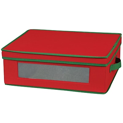 Household Essentials Holiday China Cup Chest, Red/Green 37469
