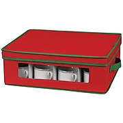 Household Essentials Holiday China Cup Chest, Red/Green (538RED)