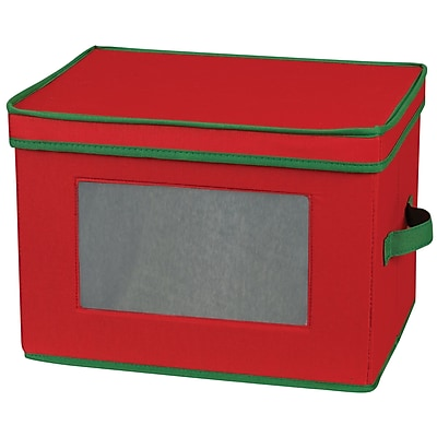 Household Essentials® Holiday Stemware Flute Chest, Red/Green
