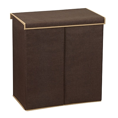 Household Essentials® Double Hamper, Dark Coffee Linen