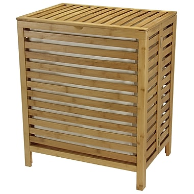 Household Essentials® Open-Slat Hamper, Natural Bamboo