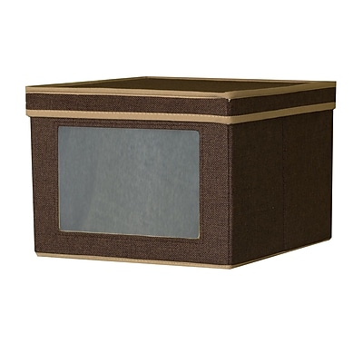 Household Essentials® Medium Vision® Storage Box, Coffee Linen