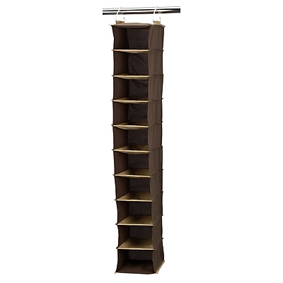 Household Essentials® Wide Hanging Shoe Organizer With 10 Pockets, Coffee Linen