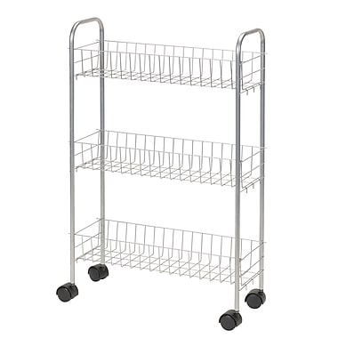 Household Essentials® Slimline 3-Tier Storage Utility Cart, Satin Silver