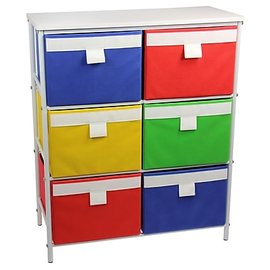 Household Essentials® Metal Storage Unit With 3 Shelves and 6 Removable Multi-Colored Bins, White