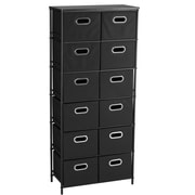 Household Essentials® Storage Unit With 6 Shelves and 12 Removable Black Bins, Black