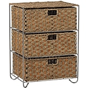 Household Essentials® Woven Seagrass and Rattan Storage Unit Side Table With 3 Drawers, Brown/tan (ML-5715)